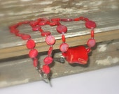 "Red coral and red shell necklace, 21""L"