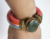 Pink & Green Stone Bracelet - Vintage Jewelry - Cuff