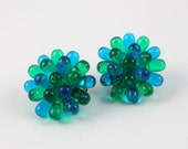 Vintage earrings Sunburst Flower Blue Green plastic shabby