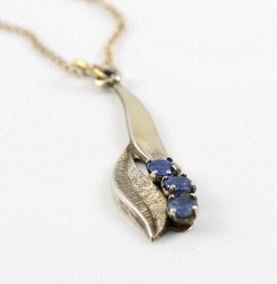 Sterling silver necklace Blue Sapphire vintage Leaf gold filled