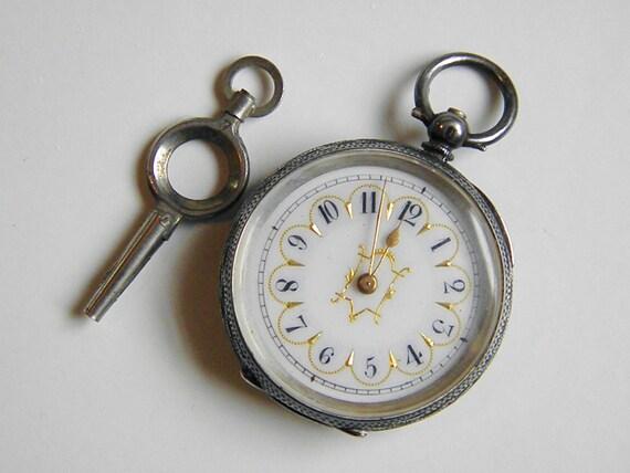 Victorain Swiss Sterling Ladies Chatelaine Pocket Watch