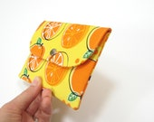 Fabric passport case for 2 two passports, bright orange lemon yellow green, Gift idea for Her under 25, Travel gift
