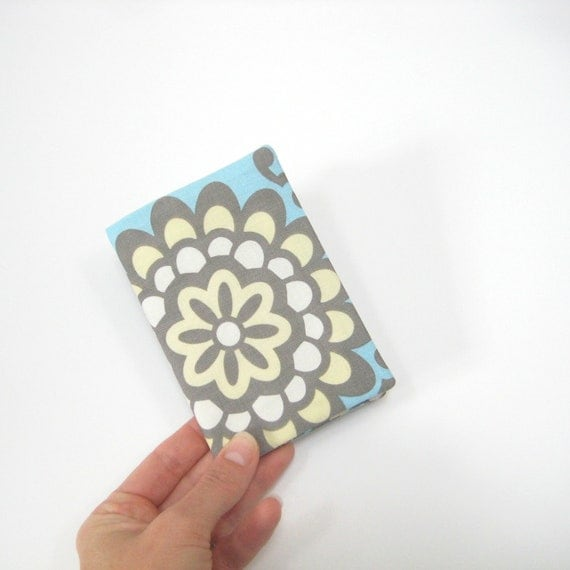 Passport cover, retro blue grey cream, handmade fabric cover for passport, book-style, travel accessories for her