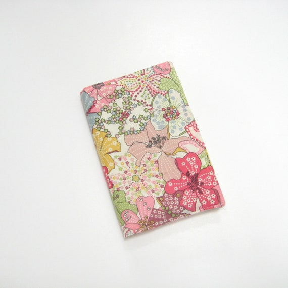 Liberty notebook cover, pink yellow green blue pocket Moleskine cover, Liberty of London 'Mauvey C', 2nd anniversary gifts for women