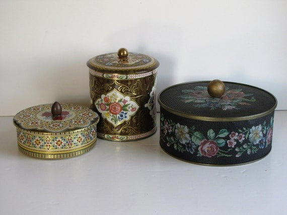 Vintage Round Metal Decorative Tins / Sewing Tin - set of three with pull tops - Tin Collection