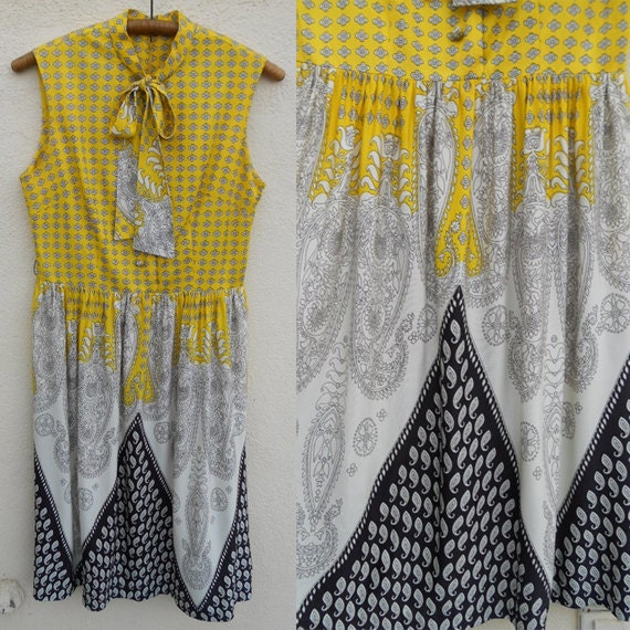 Vintage 60s Yellow PAISLEY Secretary Dress