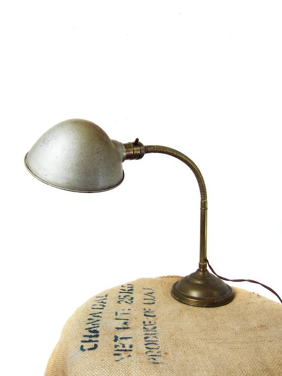 RESERVED - Vintage Industrial Lamp Gooseneck 1920s Brass