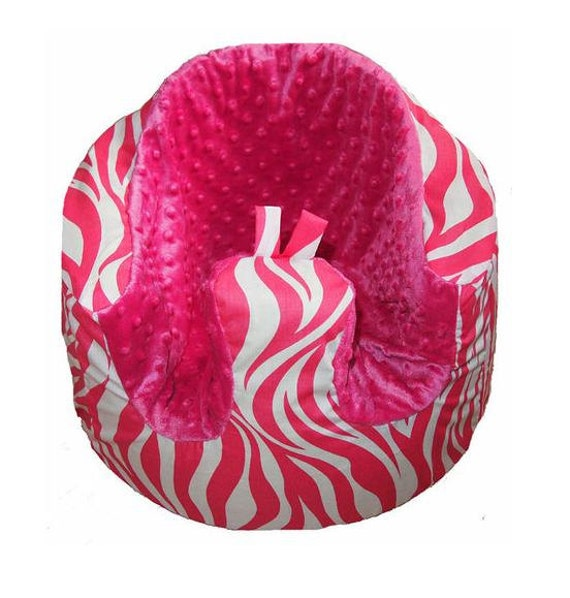 Bumbo seat cover - Pink zebra with hot pink minky dot seat