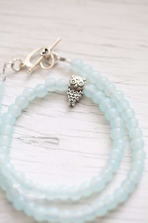 Pale Mint Glass Bead Necklace . Owl bead . Heart toggle clasp . Spring . Pale blue