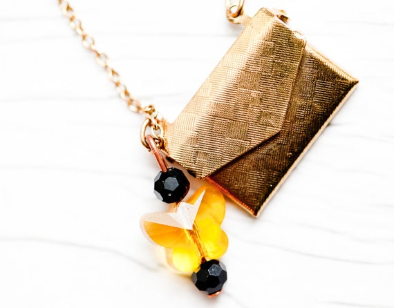Purse Necklace with yellow Swarovski butterfly . Recycled . Cute . Gift . ONLY 1