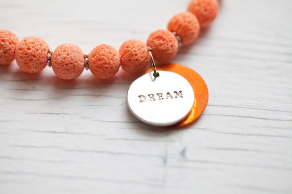 Orange sponge beads necklace with Dream accent . beautiful . wedding . bridal . summer . heart toggle clasp