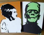 Frankenstein and Bride of Frankenstein Halloween Card Set - 2 cards