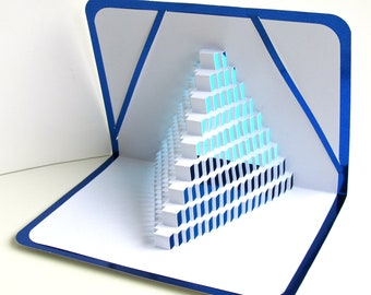 3D Pop Up STAIRS 2 LOVE With the Light Shines Through. Origamic Architecture of Geometric Intricate Cuts in White and Metallic Blue OoAK