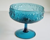 Vintage Footed Bowl or Compote Teal Blue or Turquoise Mid Century Wayne Husted for Stelvia Italy
