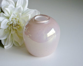 Vintage Glass Vase, Small, Pink, Opalescent Glass, Hand Blown, Encased Bubbles, Signed, Art Glass, Studio Glass