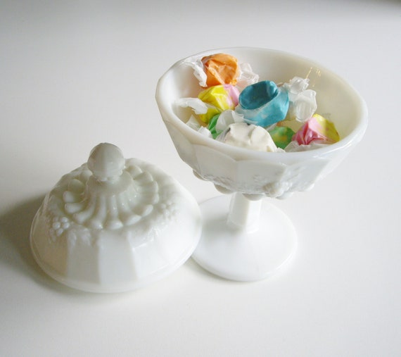 Vintage Milk Glass Candy Dish - Compote with Cover - Paneled Grape Westmoreland Glass - Wedding Bridal Registry