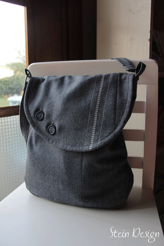 OOAK Upcycled Men's Suit Coat Messenger Bag, Steel Blue Gray Wool