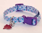 Purple and Blue Lotus - Dog Collar - Adjustable
