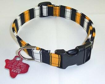 Black/Gold/White - Dog Collar - Adjustable