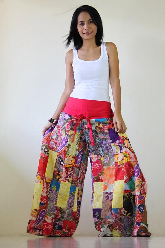 Wide Leg Pants Womes High Waist Pants  :Boho Patchwork Collection