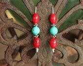 Turquoise, Red Coral and Sterling Silver Earrings