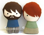 Two Handmade Personalized Plush Dolls. Custom your own family. Custom rag doll