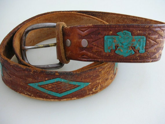 Vintage Boho Leather Tooled Belt HAND PAINTED Thunderbirds Turquoise Southwestern OOAK from The Back part of the Basement