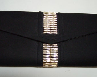 DELILL Black Fabric Evening Bag with Metal Accents