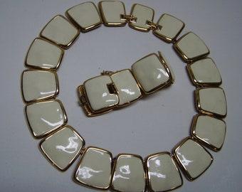 MONET Creme Enamel Choker Necklace & matching Wide Bracelet