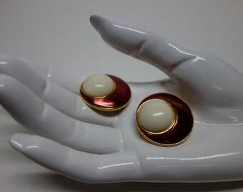Yves Saint LAURENT YSL Enamel and Lucite Clip Earrings