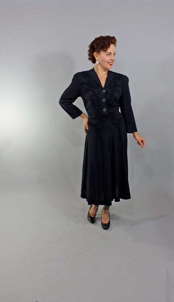 1930s Vintage Dress...NEVER BEFORE Winter Fashion Navy Blue Rayon Dress with Intricate Filigree Piping Detail and Swinging Skirt Size Large