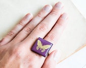 Violet square ring, purple jewelry, unusual ring
