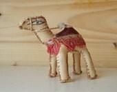Camel soft toy, vintage leather souvenir.