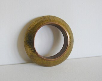Vintage Chunky Rippled Textured Brass Bangle - at KonniesPlace