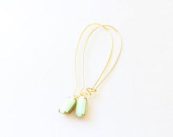 Vintage Green Glass Cabochon Earrings, Set Stone Earrings, Bezel Earrings, Colored Stone Earrings