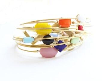 Lucky Thirteen Bangle Set, Stacked Bangles, Gem Stone Bangle, Bezel Bangle, Charm Bracelet, Colored Stone Bracelet, Vintage Stones