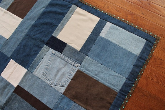Denim Quilt Baby Girl Retro Chic Aqua Brown Polka Dot Upcycled Blue Jeans Toddler Size Crib Throw 40x60 --US Shipping Included