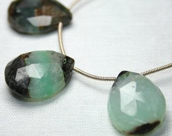 Chrysoprase Bi Color Faceted Pear Briolette Focal, One Piece Mint Green Brown Semi Precious Gemstones
