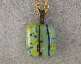 Fused glass green necklace