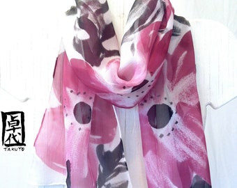 Hand Painted Silk Scarf, Wine Red and Black Scarf, Anemone Scarf, Purple Silk Scarf, Silk Chiffon Scarf, 11x59 inches, made to order