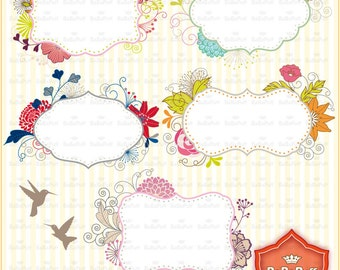 Instant Downloads, Floral Frames & Birds Clip Art, For Invitations Cards, Journal Sticker Making. Personal and Small Commercial Use. BP 0686