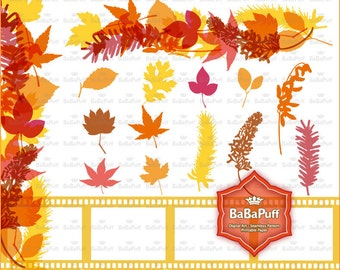Instant Downloads, Digital Fall Leaves Set 1. Personal and Small Commercial Use. BP 0687