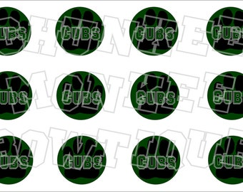 Black paw on green background bottlecap image sheet pawprint - CUBS