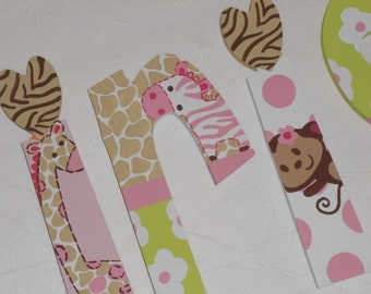 Jungle Jill - custom - hand painted - wooden wall letters for nursery