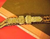 Beautiful Brocade Ribbon Belt with Vintage Rhinestone Buckle