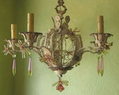 RESERVED  for Malek Hanging Chandelier,  Woodland Grass and Dragonflies, One of a Kind