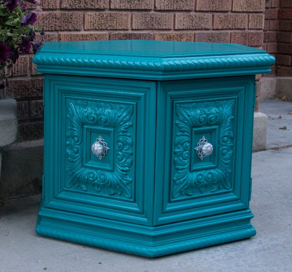 RESERVED FOR LAURA - Turquoise Side Table
