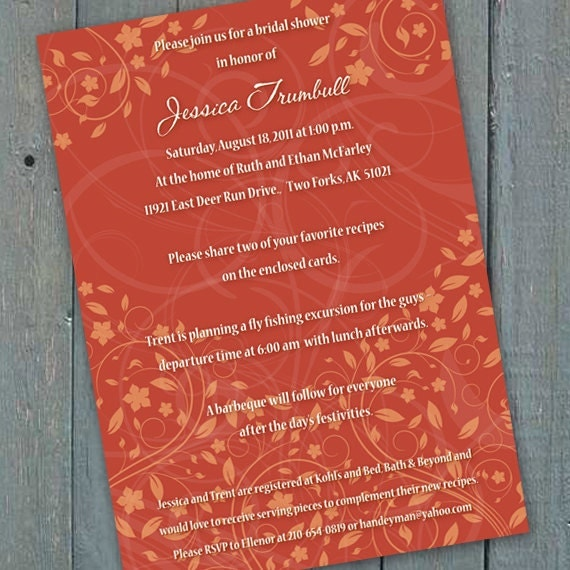 bridal shower invitations, pumpkin orange bridal shower invitations, recipe cards, tangerine wedding invitations, pumpkin wedding shower