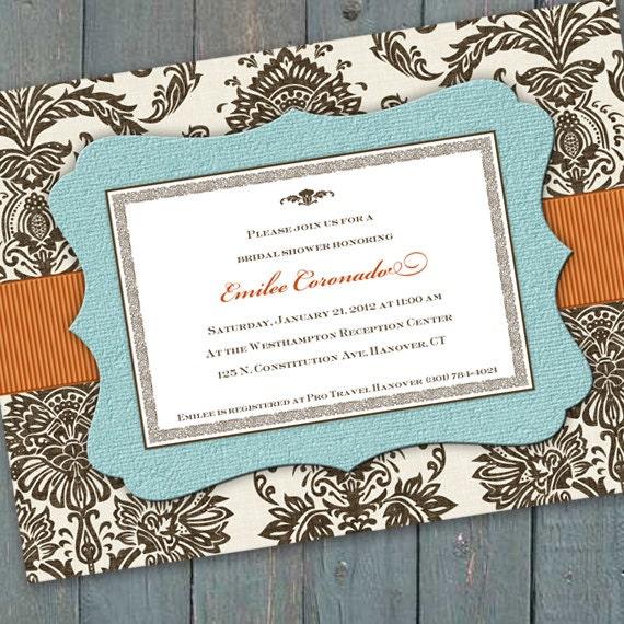 bridal shower invitations, baby shower invitations, aqua chocolate bridal shower invitations, turquoise and pumpkin wedding invitations