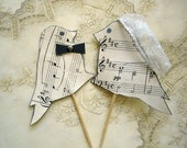 Ready to Ship Wedding cake topper, recycled sheet music, love birds, eco-friendly, music wedding cake topper